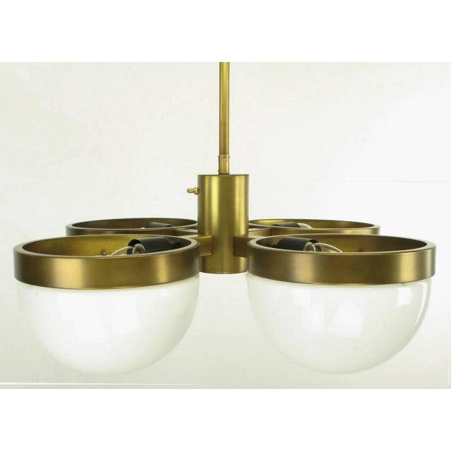 Gold Feldman Lighting Five-Light Hemispherical Milk Glass and Brass Pendant For Sale - Image 8 of 10