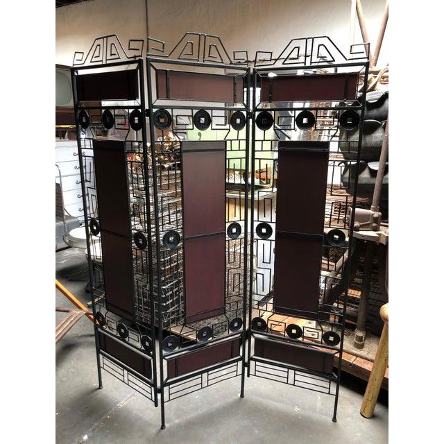 Metal 1980s Vintage Asian-Inspired Decorative Room Divider For Sale - Image 7 of 11