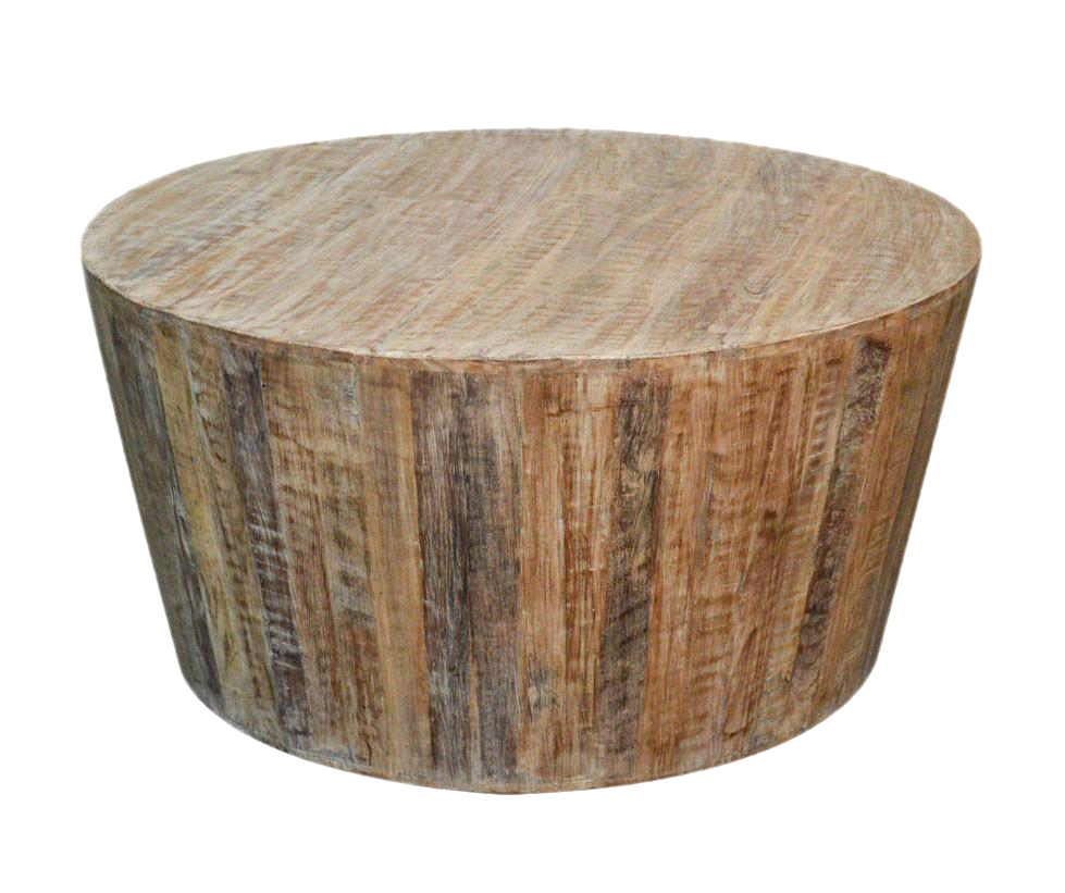 Awesome Distressed White Reclaimed Wood Round Coffee Table   Image 1 Of 3