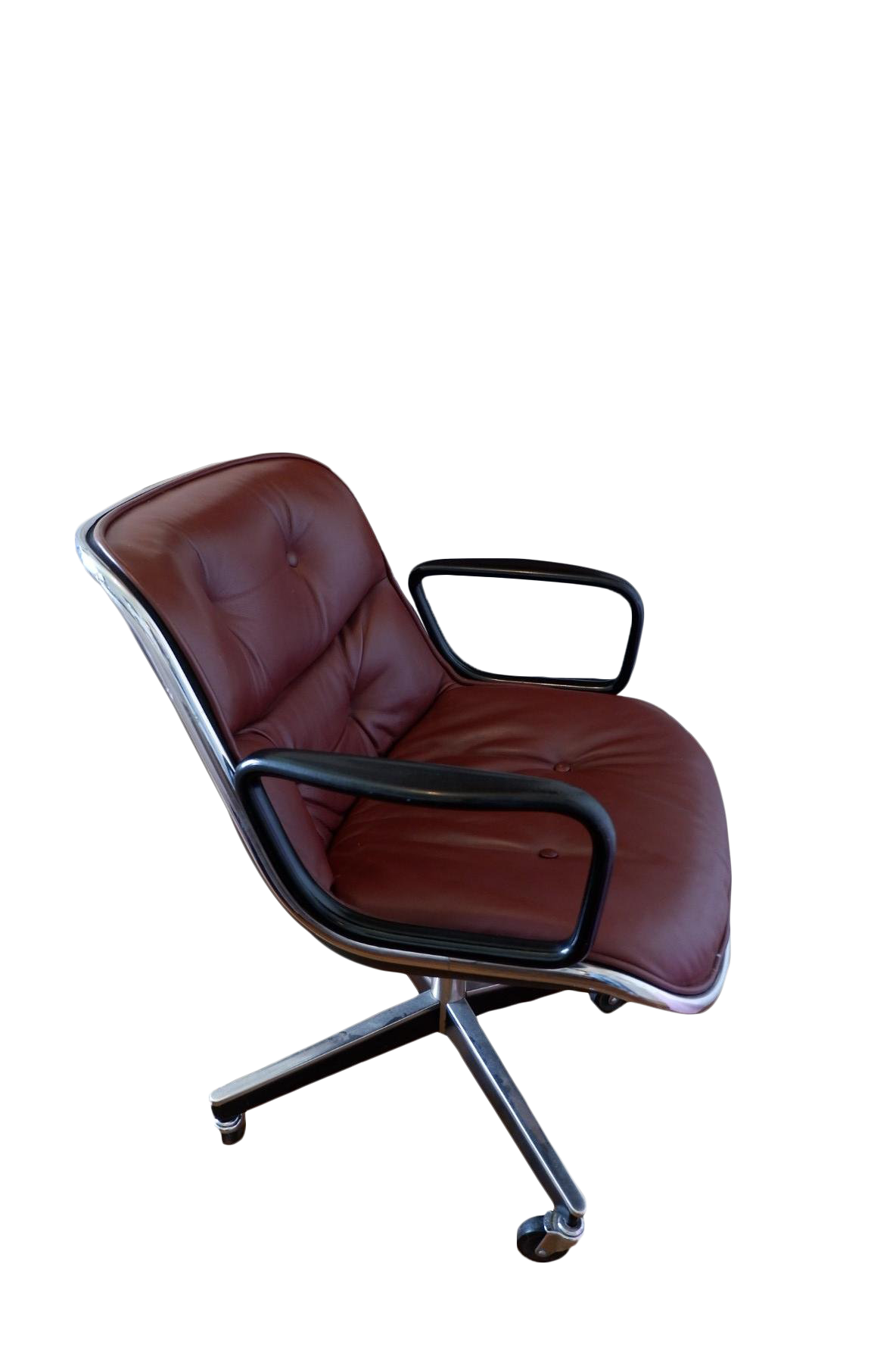 Mid Century Mahogany Executive Desk Chair By Charles Pollock For Knoll