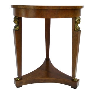 C.1960s Vintage Baker Furniture Company French Regency, Empire-Style Round Walnut Side/End Table For Sale