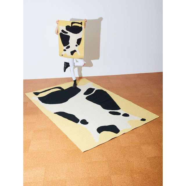 Cold Picnic Cow Flate Weave Rug - 6′ × 9′ For Sale - Image 4 of 5