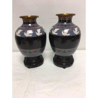 Vintage Asian Cloisonne Vases - A Pair Preview