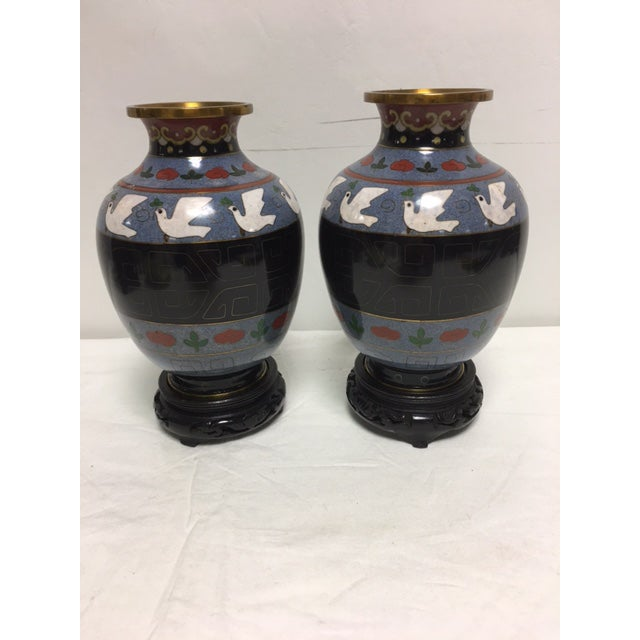 Intricate vintage black & gray dove vases on wooden bases. Pristine condition, no chips to enameling. Would make an...