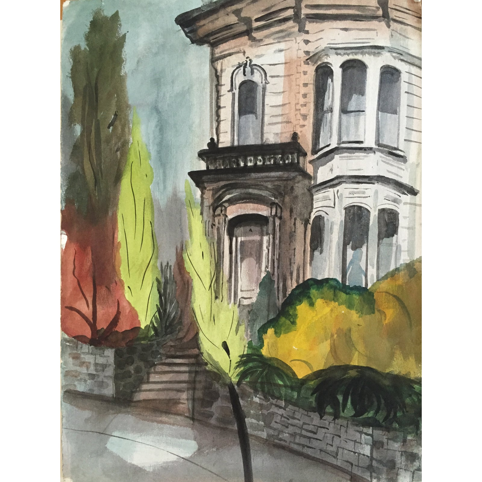 Mid Century San Francisco Victorian Watercolor Chairish