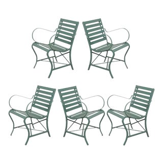 Early 20th Century French Metal and Wood Garden Chairs - Set of 5 For Sale