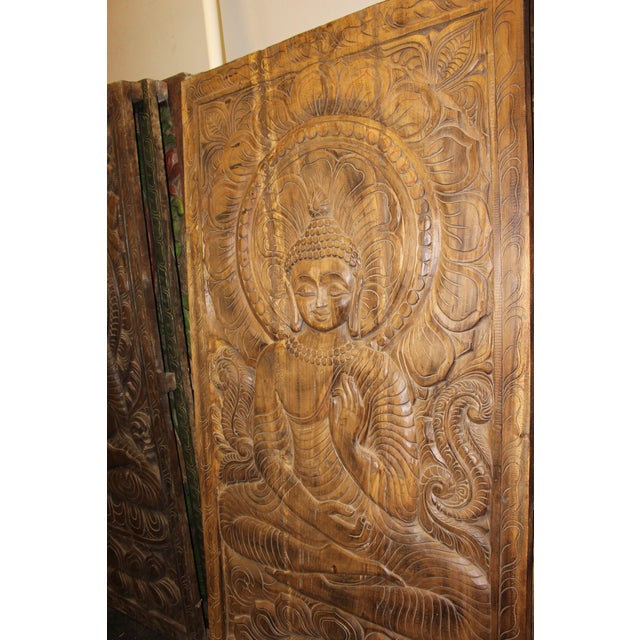 1990s Vintage Hand Carved Buddhism Panel For Sale - Image 6 of 8