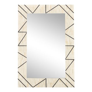 Contemporary Bone Inlay and Resin Framed Carolyn Mirror, White For Sale