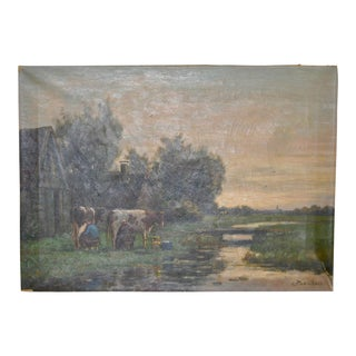 "19th C. Dutch Landscape ""Milking the Cows"" Original Oil Painting"