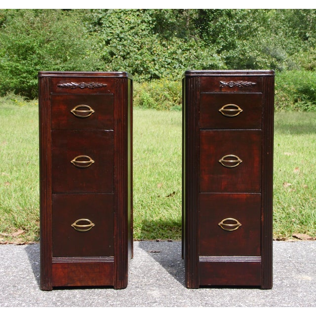 Antique Pair Art Deco Walnut Nightstands End Tables Bedroom Stands For Sale - Image 13 of 13