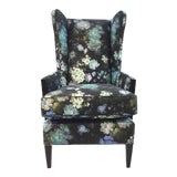 Image of Henredon Floral Print Emile Wingback Chair For Sale