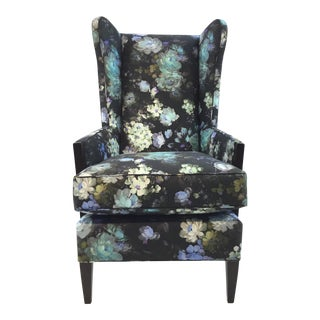 Henredon Floral Print Emile Wingback Chair For Sale