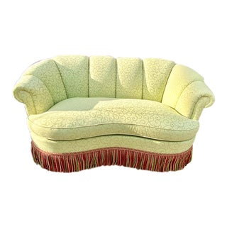 Charles Stewart Fringed Green Kidney Shaped Sofa For Sale