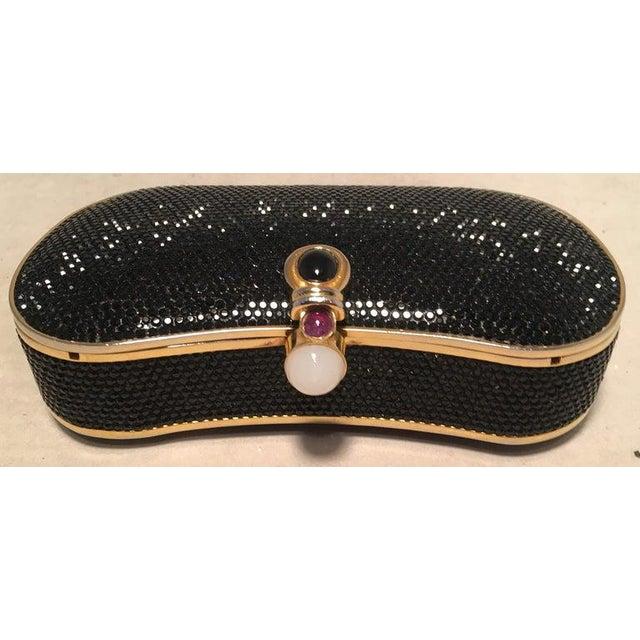 Judith Leiber Black Swarovski Crystal Minaudiere Evening Bag Clutch in excellent condition. Black swarovski crystal...