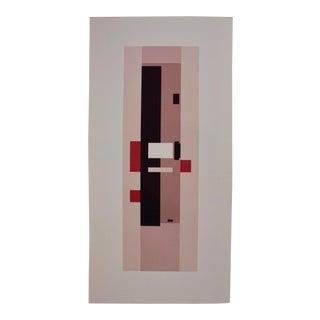"Oversized (37.5"") Geometric Modernist Silkscreen in Pink Rectangles For Sale"