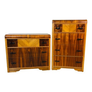 Art Deco Waterfall Dressers, Pair For Sale