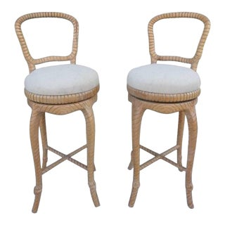Pair of Carved Wood Swivel Bar Stools