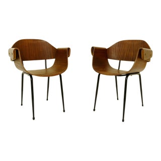 Pair of Plywood Molding Armchairs - Italy, Circa 1955 For Sale