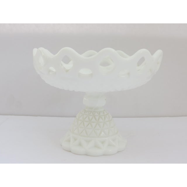 Milk Glass Compote Dish For Sale - Image 5 of 5