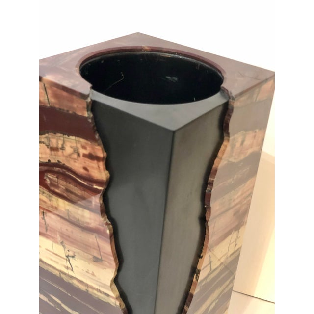 1960s Unusual Rectangular Carved Agate Vase For Sale - Image 5 of 11