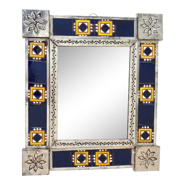 Vintage Mexican Blue and White Handmade Tile Mirror For Sale