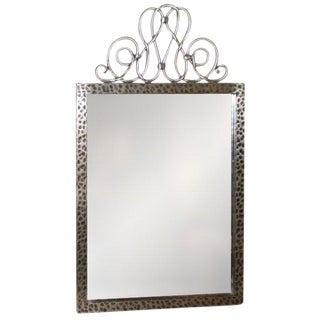 1940's Vintage Raymond Subes French Art Deco Steel Mirror For Sale