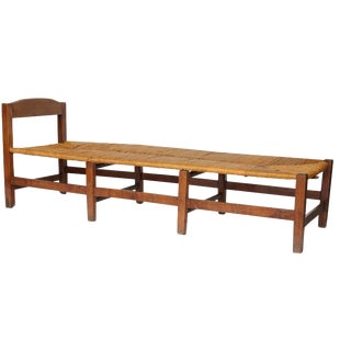 French Rush Seat Bench, circa 1870 For Sale