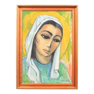 1962 Portrait of a Majorcan Woman by Emil Dyrberg-Petersen For Sale