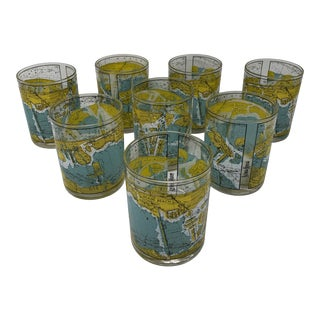 Vintage Neiman Marcus Nautical Chart of Miami Harbor Lowball Glasses - Set of 8 For Sale