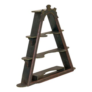 Antique Green Painted Triangular Shelf For Sale