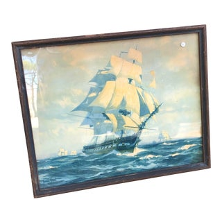 1940s Nautical Sailboat Painting For Sale
