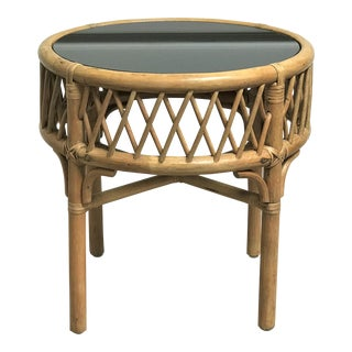 1960s Mid-Century Modern Rattan Bamboo & Mirror Side Table For Sale