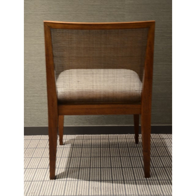Edward Wormley Caned Back Linen Chairs - Pair - Image 5 of 5