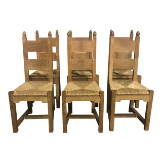 Country French Oak Chairs - Set of 6