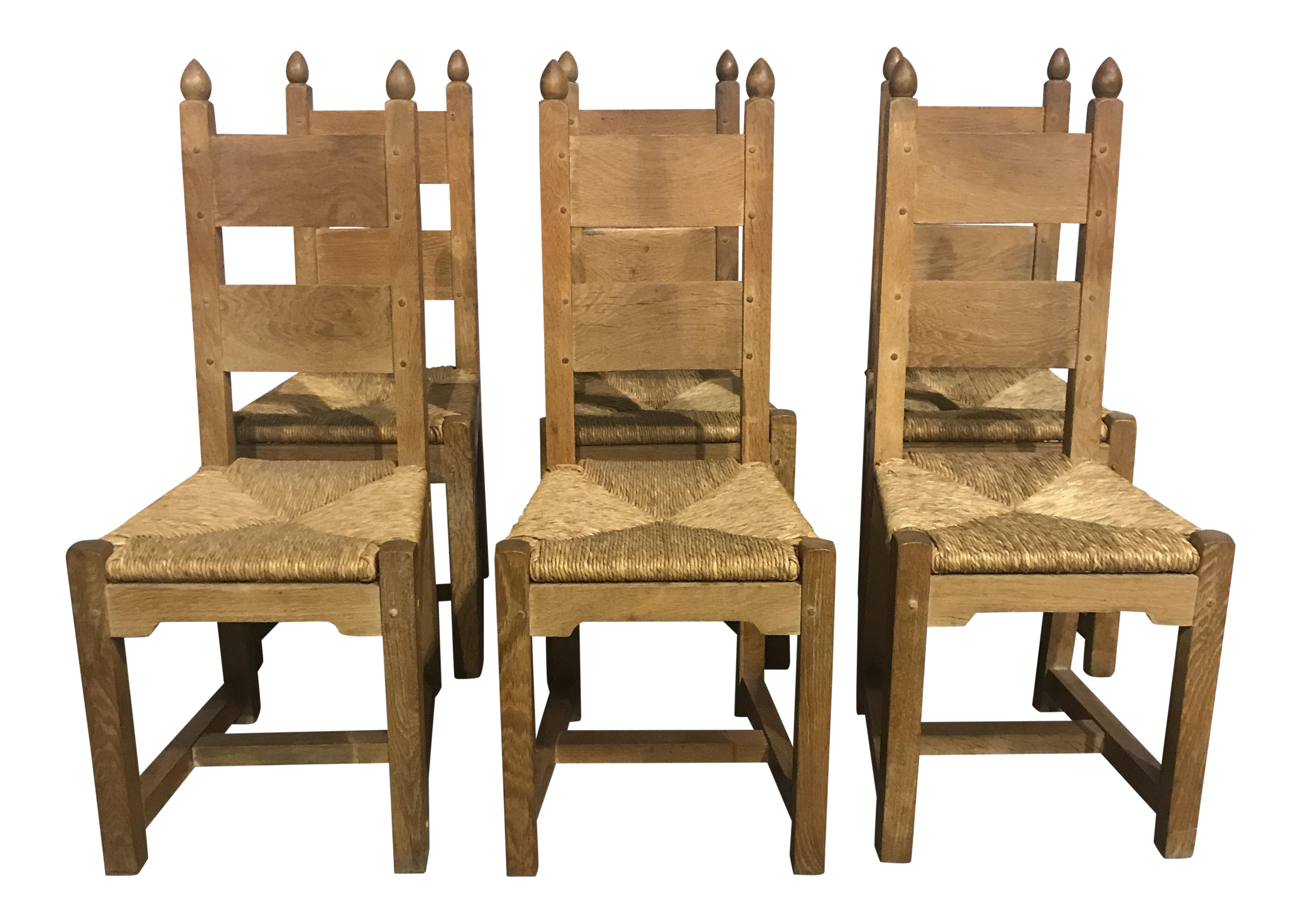 Country French Oak Chairs   Set Of 6