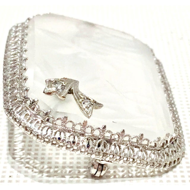 Art Nouveau Antique Platinum Etched Crystal & Diamond Brooch For Sale - Image 3 of 9