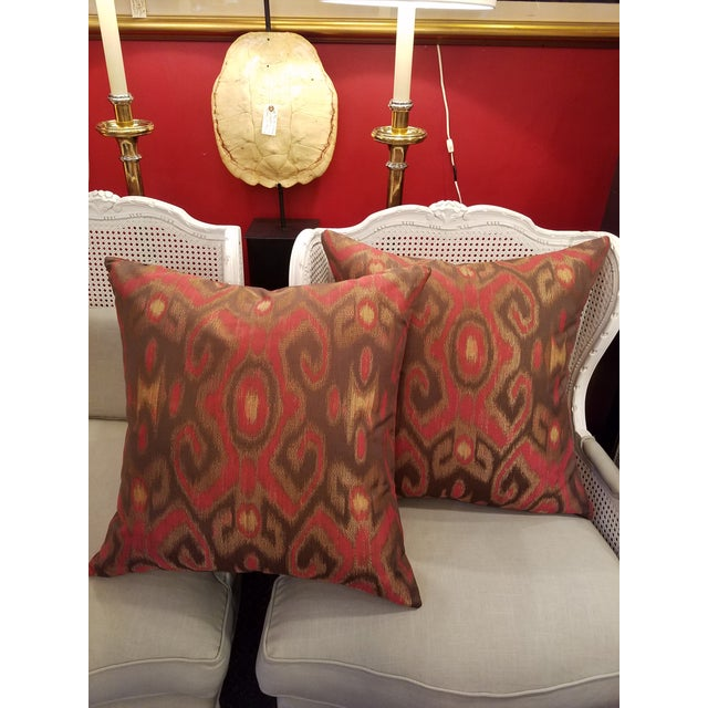 Fabulous for fall, these puffy custom new designer down and feather pillows have a Brown Background with Garnet Red...