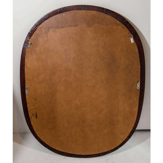 Red Mid-Century Modern Burgundy Leather Mirror With Embossed Print For Sale - Image 8 of 11
