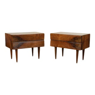 1960s Mid-Century Modern Rosewood/Walnut Side Tables - a Pair For Sale