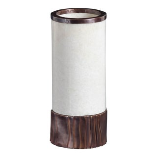 Cylindrical Alabaster W/ Kuai Base Lamp by Robert Kuo, Hand Repousse, Limited Edition For Sale