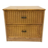 Image of Vintage Faux Bamboo & Woven Wicker Side Table For Sale