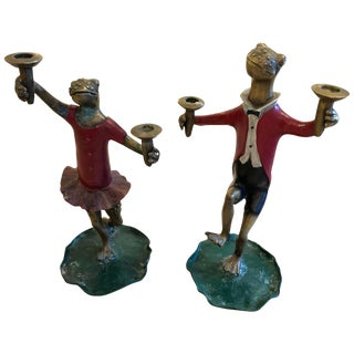 Pair of Whimsical Painted Bronze Dancing Frog Candlesticks For Sale