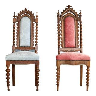 Early 19th Century Neo Gothic Style Danish Side Chairs in Carved Polished Oak For Sale