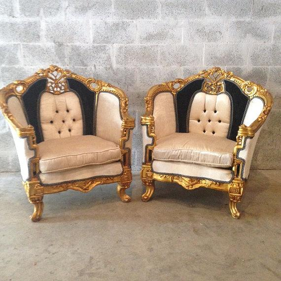 Antique Black & White Louis XVI Chairs - a Pair - Image 7 of 7