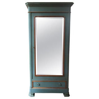 Green Painted Wood and Mirrored Armoire by Grange For Sale