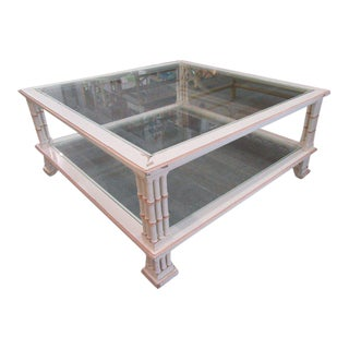 Faux Bamboo Tri Leg Coffee Table For Sale