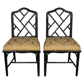 Pair of Maison Jansen Chinoiserie Chairs For Sale