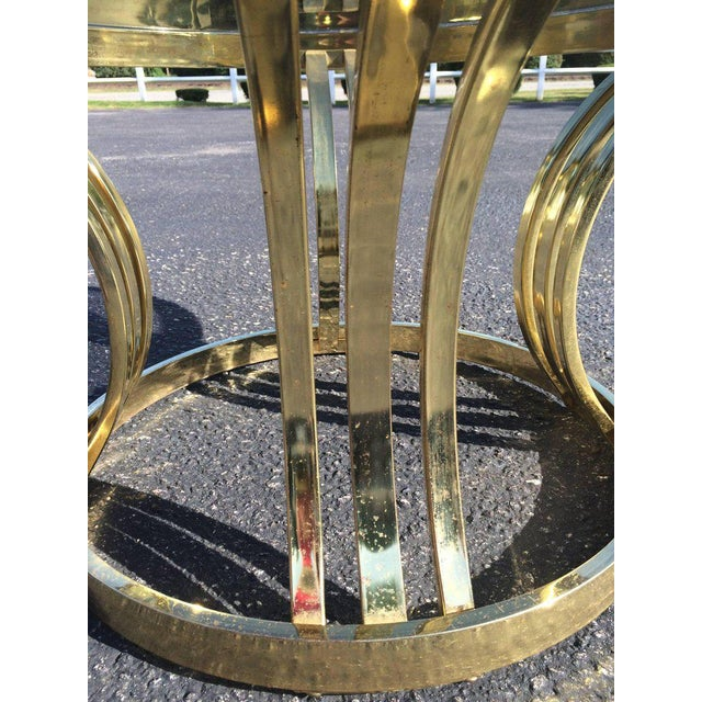 Hollywood Regency Milo Baughman Brass & Smoked Glass Round Coffee Table For Sale - Image 3 of 10