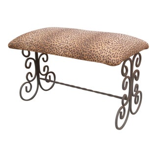 Spanish Colonial Scroll Iron Bench Arts and Crafts For Sale