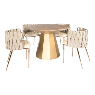 Contemporary Lucia Elm Wood Dining Set - 5 Pieces For Sale